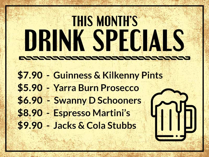 This Month's Drink Specials @ The Beaconsfield Hotel